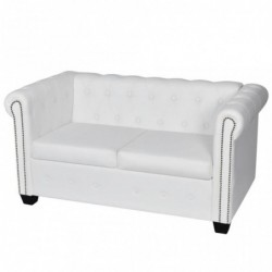 Sofá Chesterfield de 2 plazas de cuero artificial blanco