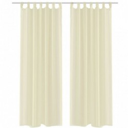 2 Cortinas color crema transparentes 140 x 175 cm