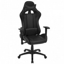 Silla de escritorio reclinable Racing de cuero artificial negra