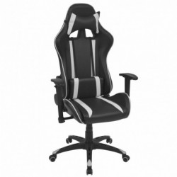 Silla de escritorio Racing reclinable cuero artificial blanca
