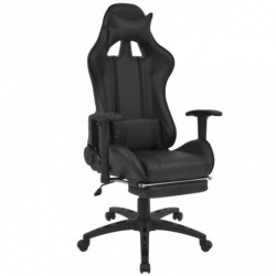 Silla de escritorio Racing reclinable con reposapiés negra
