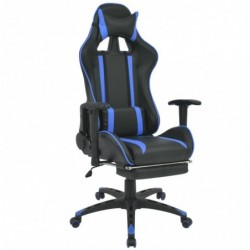 Silla de escritorio Racing reclinable con reposapiés azul