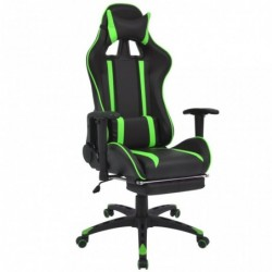 Silla de escritorio Racing reclinable con reposapiés verde