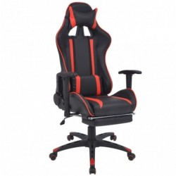 Silla de escritorio Racing reclinable con reposapiés roja