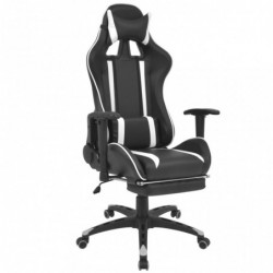 Silla de escritorio Racing reclinable con reposapiés blanca