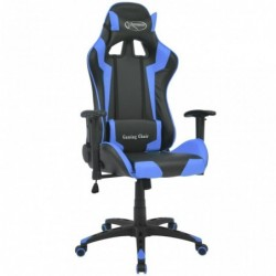 Silla de escritorio reclinable Racing de cuero artificial azul