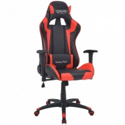 Silla de escritorio reclinable Racing de cuero artificial roja